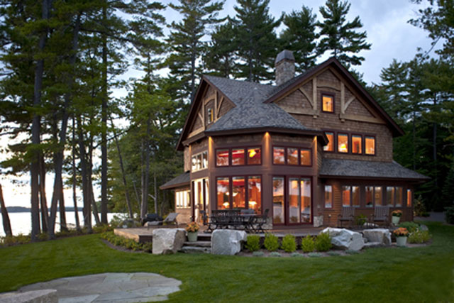 Custom wood and stone vacation home on Lake Winnipesaukee