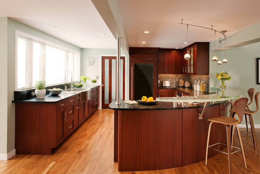 Contemporary Sapele Crown Point Kitchen