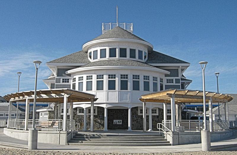 Hampton Beach State Park Seashell Building viewed from the beach