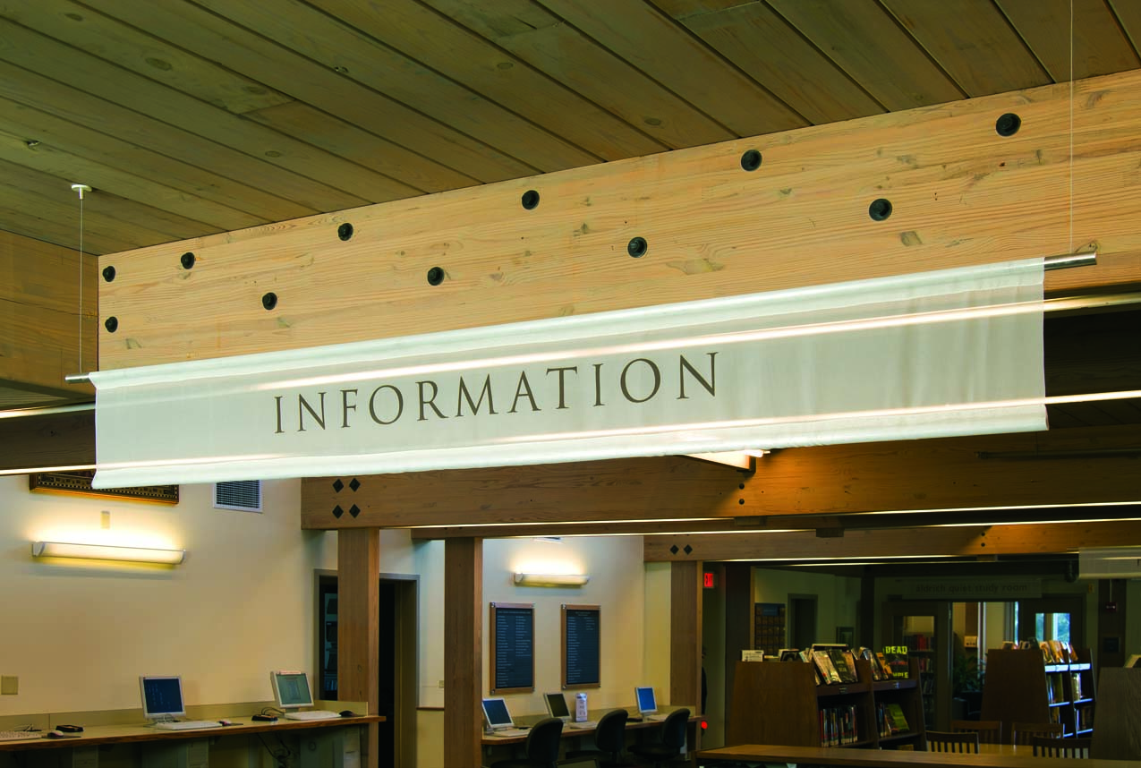 Information Sign at Main Desk for Howe Library
